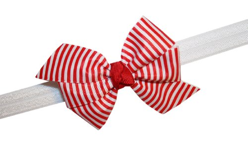 Webb Direct 2U Baby-Girls Infant Red & White Candy Cane Striped Hair Bow Headband