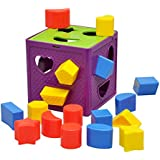 YIXIN Plastic Geometric Square Shape Sorter Cube Baby's First Blocks Shape-Sorting BPA Free Toy for Early Learning for 1-3 Year Old