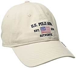 U.S. Polo Assn. Men's Logo American Flag Twill Baseball Cap with Self Strap Metal Buckle Closure, Stone, One Size