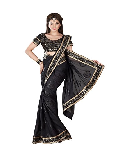 Meghdoot Black Colour Chiffon Saree (Multicolor)