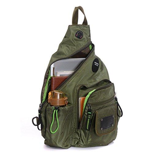 DDDH Large Sling Bag Riding Hiking Bag Nylon Single Shoulder Backpack For Men Women(Army green) (Side Backpack For Women compare prices)