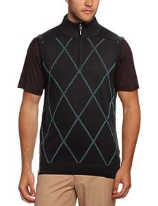 CALVIN KLEIN Golf Men's Argyle Sleeveless Zip Up Sweaters - Charcoal, Small