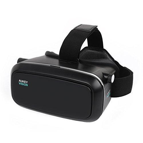 AUKEY 3D VR Headset Gafas de Realidad Virtual Ajustable para Películas 3D y Juegos de Vídeo Compatible con iPhone Samsung Smartphones de 3.7 -5.5 Pulgadas (VR-O1)