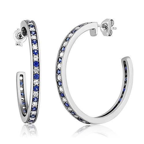 150-Inch-Beautiful-925-Silver-White-Blue-Created-Sapphire-Hoop-Earrings