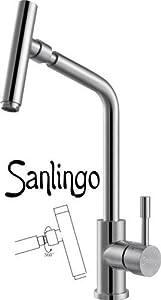 Sanlingo Küchenarmatur Spültischarmatur aus Edelstahl MASSIV mit schwenkbaren Kopf  BaumarktKundenbewertung und weitere Informationen