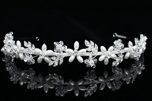 Handmade Rhinestone Crystal Flower Leaf Pearl Bridal Wedding Headband Tiara