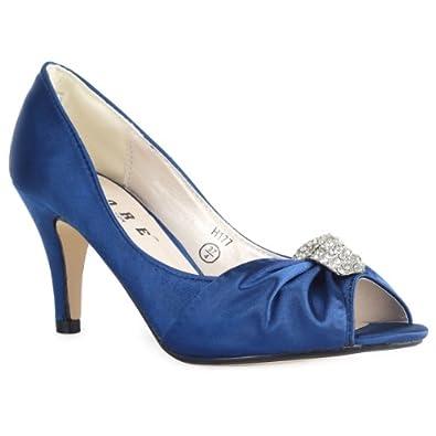 My1stWish Womens 88S Diamante Prom Ladies Wedding High Stiletto Heel Bridal Shoes Size 7 Blue