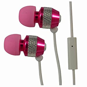 Pink Metal Noise Isolating Handsfree Earphones with Mic for Samsung Galaxy Y TV S5367 by 247Clix