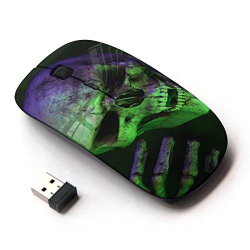 XP-Tech [ Mouse Senza Fili Ottico 2.4G ] - Halloween Scary Green Skull Vampire