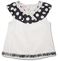 Pretty Beetlejuice London A Line Fashion Girls Top With Polka Dot Yoke & Bow Detail -4T