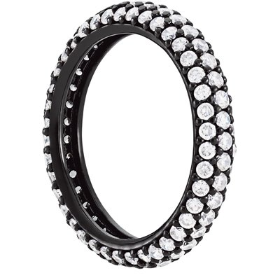 Sterling Silver 3 Row Cubic Zirconia Eternity Band Black Rhodium Overlay