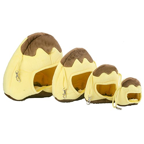 Mkono Cozy Warm Hammock Hanging Tent Bed House Habitats Cage for Pet Rabbit/Guinea Pig/Galesaur/Hamster Yellow