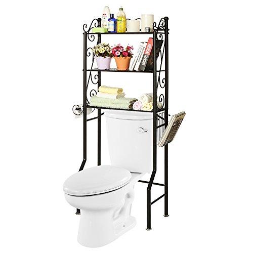 over the toilet metal scrollwork 3 shelf bathroom etagere storage organizer rack w magazine. Black Bedroom Furniture Sets. Home Design Ideas