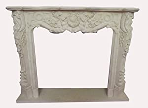 Top price range surround FIREPLACE 1,5 x1 , 2m solid color antique white marble D Heb 22 by Luxury-Park