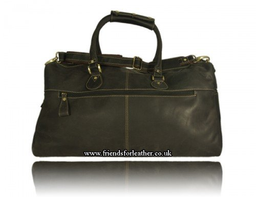 Mudd Soft Brown Hunter Leather Overnighter Holdall Brown