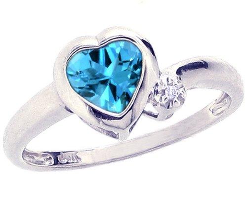 14K White Gold Simply Heart Gemstone Ring-Swiss Blue Topaz, size7.5