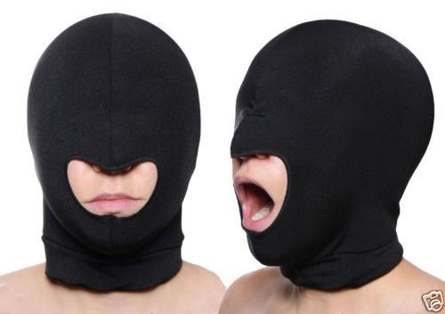 Blindfold Mask Spandex Blindfold Eye Face Mask Open Mouth Hood Head Cover Opening Balaclava Erotic Mask (Welding Helmet Ventilator compare prices)