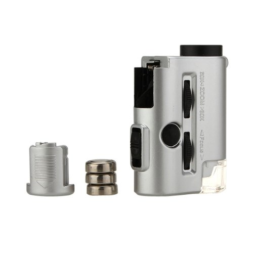 Mini 30-60X Pocket Microscope Loupe Led Uv Light Magnifier