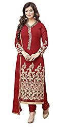 Khoobee Presents Embroidered Faux Georgette Dress Material (Red)