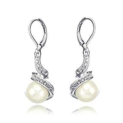 Yoursfs 18k White Gold Plated Simulated Diamond and Pearl Lever Back Bridal Earrings