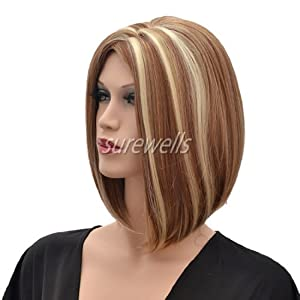 CoolShort Bob Mix Brown And Gold Secondary Colors Natural Straight center partWith Blonde Highlights Hair Style Women Wig from Gooaction