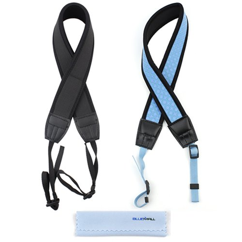Birugear 2Pcs Anti-Slip Camera Shoulder/Neck Strap--(Blue, Black) For Canon Eos Sl1 T5I T4I T3I T3 T2I; Eos 70D 6D 60D 60Da 5D Mark Iii, Sx510 Hs, Sx500 Is, Sx50 Hs, Sx40 Hs, Sx30 Is, G15 *With Cleaning Cloth* front-273622