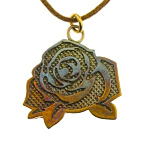 Vintage Rose Flat Pendant Necklace