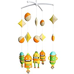Crib Rotate Bed Bell Cartoon Robot Musical Mobile