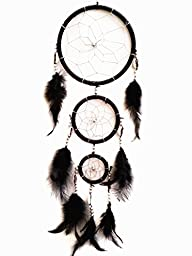 Multi Colors Dream Catcher with Feathers Wall Hanging Ornament (With a Betterdecor Gift Bag)(black)