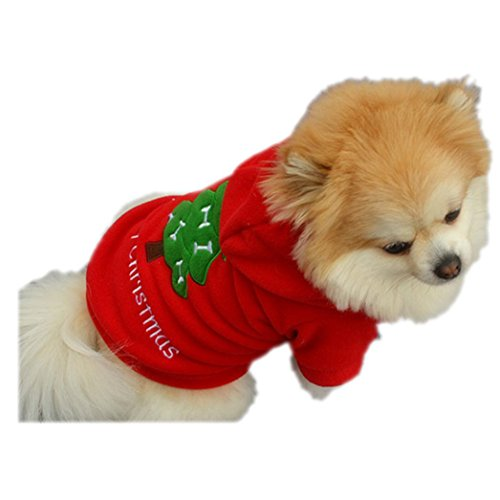 [DETALLAN Christmas Pet Puppy Dog Clothes Santa Claus Costume Thick Outwear Coat Apparel (M)] (Pirate Cat Costume Video)