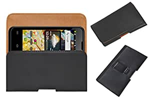 Acm Belt Holster Leather Case For Micromax Ninja 4.0 A87 Mobile Cover Holder Clip Magnetic Closure Black