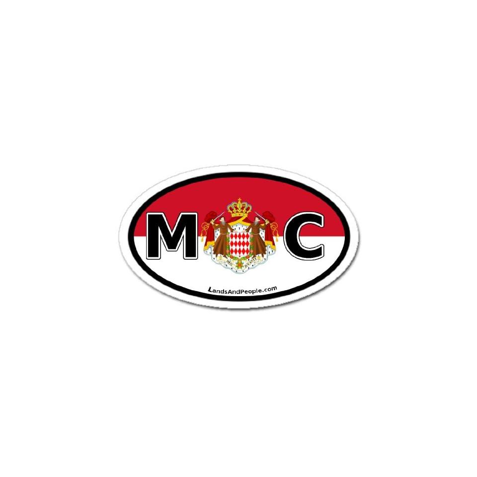 Monaco MC Flag Car Bumper Sticker Decal Oval