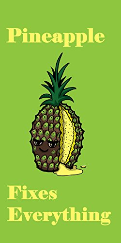 """""""Pineapple Fixes Everything"""" Food Humor Cartoon - Plywood Wood Print Poster Wall Art front-288171"""