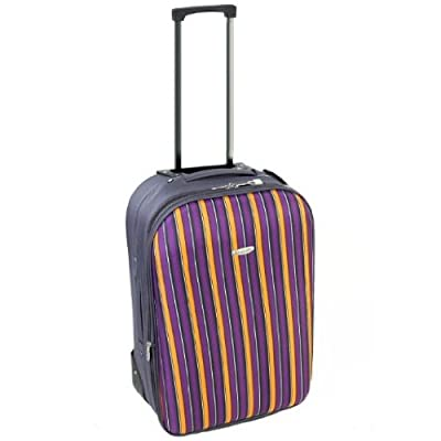 Small 20'' Lightweight Cabin Approved Expandable Suitcase (Stripes Charcoal/Orange)