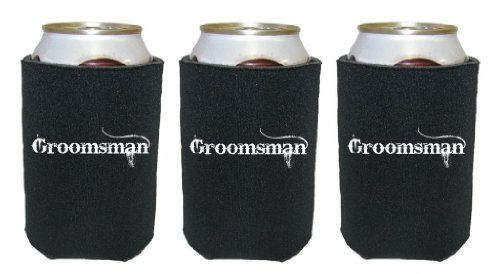 Mashed Mugs – Groomsman (White Distressed Print) – 3-Pack Collapsible Scuba Foam Can Coolers/Coolies (Black)