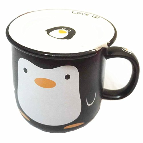 Moyishi Cute Penguin Office Mug Coffee Milk Ceramic Mug Cup Pen case 300ml Best Gift