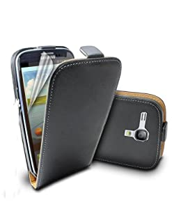 For Samsung Galaxy SIII S3 S 3 S111 Mini i8190 Genuine Cow Leather Mobile Phone Flip Case Cover Shell By BinaryTech (Black)
