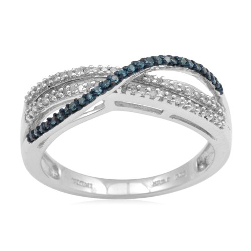 Sterling Silver Blue and White Diamond Twist Ring (1/4 cttw, I-J Color, I3 Clarity), Size 6
