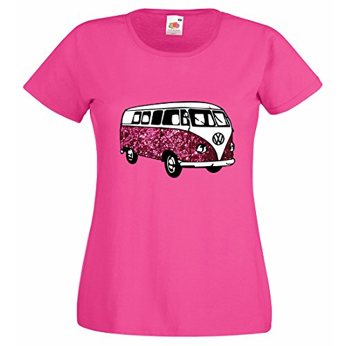 ladies-funky-animal-print-vw-campervan-t-shirt-fuchsia-medium