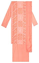 Sree Hamsa Women's Cotton Unstitched Dress Material (Peach)