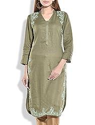 Tagaai Women's Silk Cotton Long Kurta Green - Medium