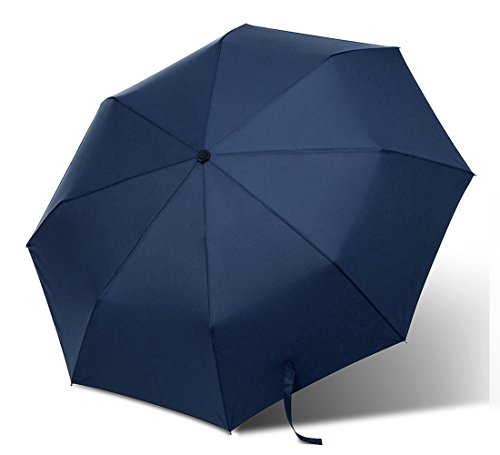 Bodyguard Travel Umbrella - Auto Open/close - Strong Waterproof, Windproof, Compact for Easy Carrying Totes - Wind Tested 55mph - Sturdy, High Quality - Lifetime Guarantee (Blue)