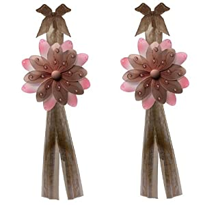 Amazon.com - Flower Tiebacks Brown & Pink Two-Tone Nylon Daisy