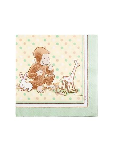 "1st Cute Curious George 13"" Lunch Napkin - 16/Pkg."