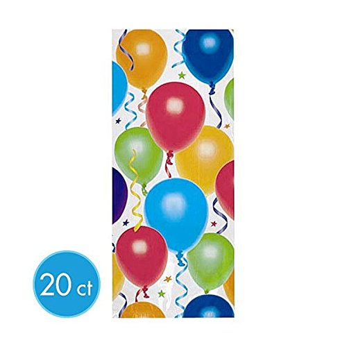 "Amscan Festive Balloon & Stars Large Party Bags (20 Count), 11-1/2 x 5 x 3-1/4"", Multi"