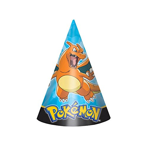 Amscan Dashing Pikachu & Friends Party Paper Cone Hats (8 Piece), Blue/Yellow/Black, 6""