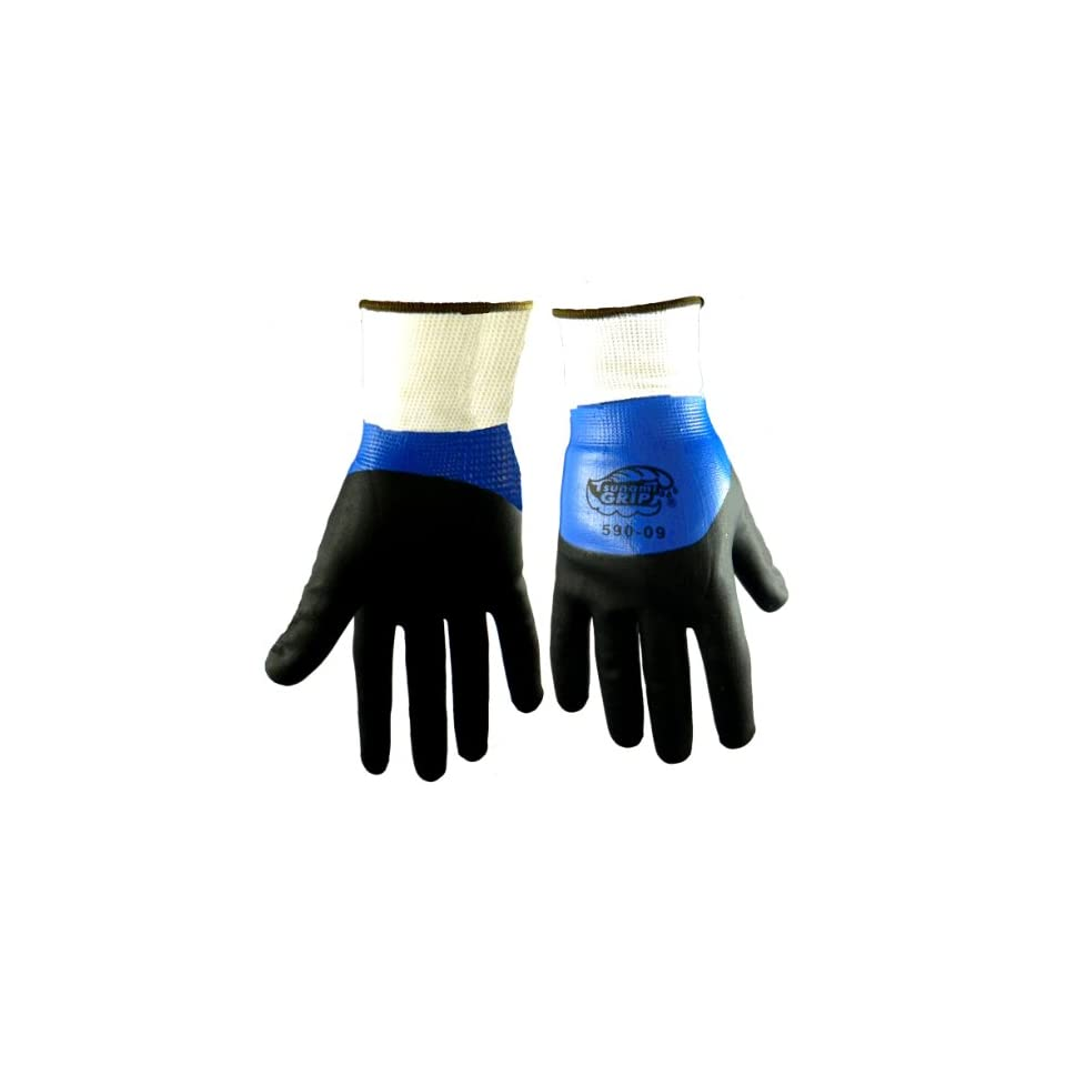 Global Glove 590 Tsunami Grip Polyester Foam Nitrile Glove, Work, Extra Small, Black/Blue (Case of 72)