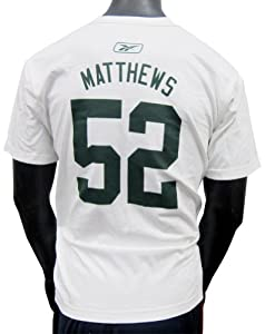 Clay Matthews Green Bay Packers White Jersey Name and Number T-shirt