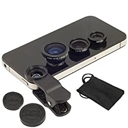 Insasta IN72354 Universal 3 in 1 Cell Phone Camera Lens Kit - Fish Eye Lens / 2 in 1 Macro Lens & Wide Angle
