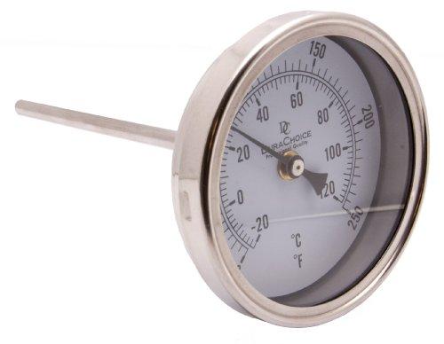 "Industrial Bimetal Thermometer 5"" Face x 6"" Stem, 0-250 w/Ca"